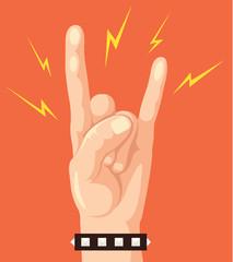 Hand show rock sign. Vector flat cartoon illustration