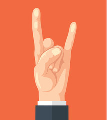 Hand of business person show rock sign. Vector flat cartoon illustration