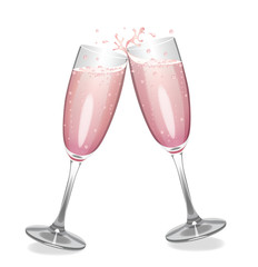 Pink champagne glasses clinking