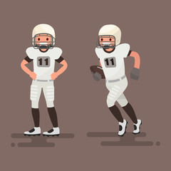 American football. Player posing, player is running. Vector illustration