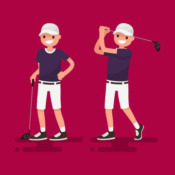 Golf. Golfer posing. Vector illustration
