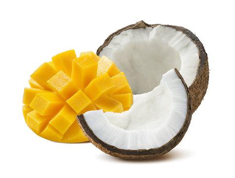 Coconut half mango cut isolated on white background