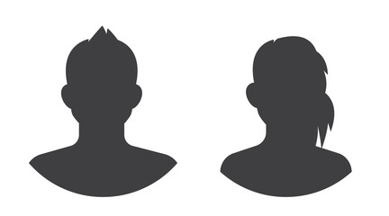 social avatar silhouette icon set, isolated vector image