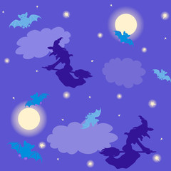 Witches and bats Halloween background