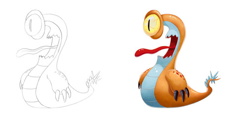 Creative Illustration and Innovative Art: Monster Creature Character Design Set 1: One-Eyed Snail iSolated on White Background. Realistic Fantastic Cartoon Style Character Design, Story, Card Design