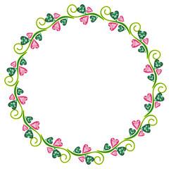 Round  frame with geometric flowers