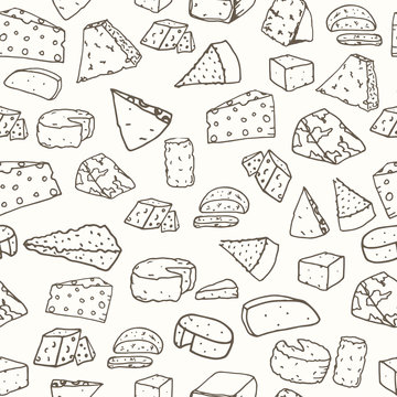 Cheese pattern. Seamless background with hand drawn different cheese. Vector illustration