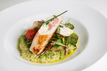 Chicken rolls with risotto