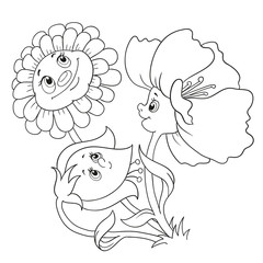 Cartoon characters flowers.