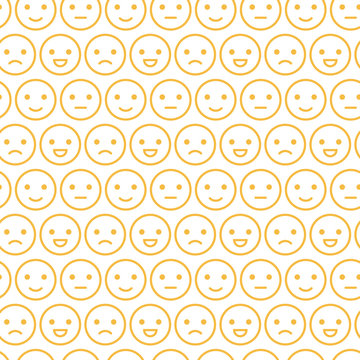 Cute yellow smiley faces, emotions seamless pattern background. Different facial expressions.