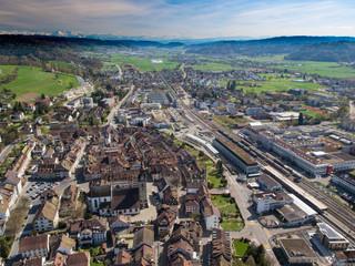 Drohnenbild Zofingen Altstadt ca. 200m über Boden (05.2016)