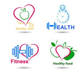 Set Wellness symbols. Healthy food and fitness.