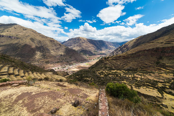 Expansive view of the Sacred Valley, Peru from Pisac