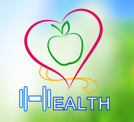 Wellness symbol. Healthy food and fitness leads to healthy