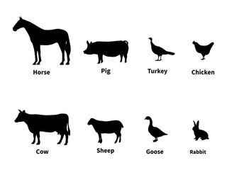 Silhouettes set of livestock