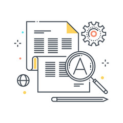 Color line, magnifier, search, details icon