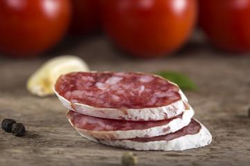 Close up of Italian salami slices