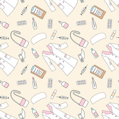Seamless pattern with medical things