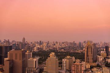 urban cityscape on senset time