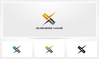 X Cross Cut Sharp Logo