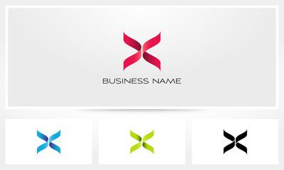 X Ribbon Folded Letter Cross Logo
