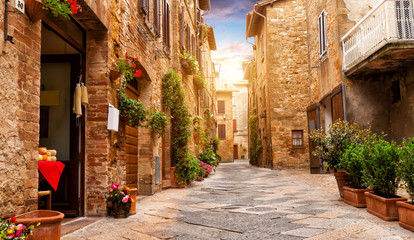 Colorful street in Pienza, Tuscany, Italy Wall mural