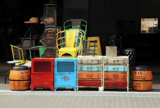 Vintage furniture and other staff at Jaffa flea market district