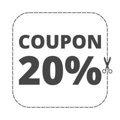 Coupon design, sale icon 20%