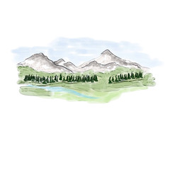 Digital Watercolor - landscape and mountains