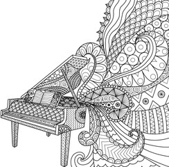 Doodles design of piano for coloring book for adult and design element - stock vector