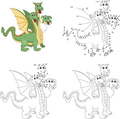 Cartoon funny three headed dragon. Coloring book and dot to dot