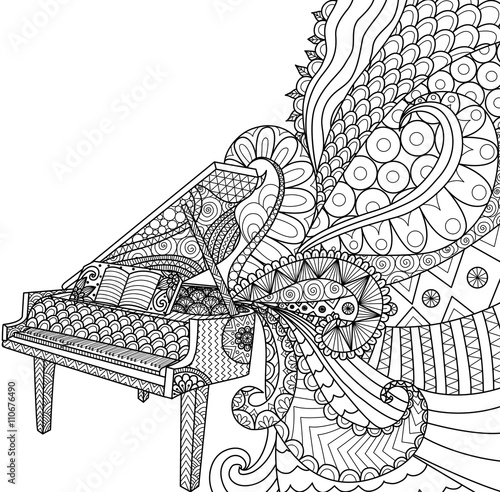 Doodles Design Of Piano For Coloring Book For Adult And