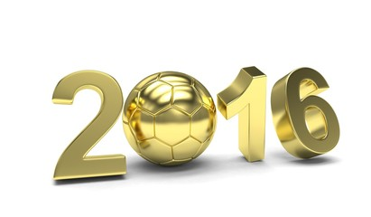 New Year 2016 and soccer ball. 3d rendering.