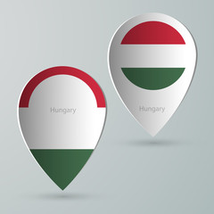 paper of map marker for maps hungary