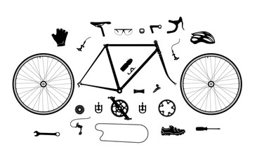 Road bicycle parts and accessories silhouette set, elements for infographic, etc