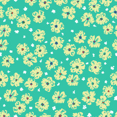 vector seamless gentle fantasy flower pattern, ditsy artistic floral background print