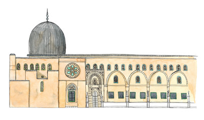Watercolor Hand drawn architecture sketch of Israel Jerusalem Al-Aqsa Mosque in Old City with lettering Israel Jerusalem isolated