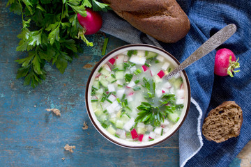 Spring-summer cold soup with vegetables with serum, a traditiona