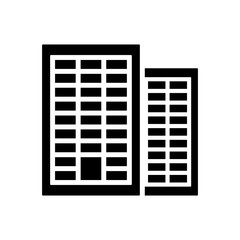 office building icon black on white background