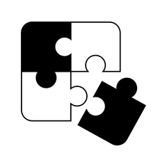 puzzle icon black on white background
