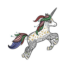 Mythical Unicorn in a magical animal doodle style vector.