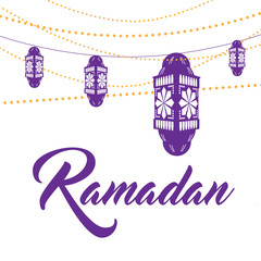 Ramadan crescent moon and lanterns design. EPS 10 vector.