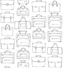 Hand drawn doodle sketch illustration seamless pattern - baggage for travel, suitcase, case, handbag, sports bag isolated on white. Coloring book