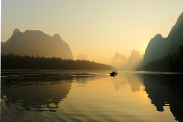 Sunrise at Li River, Xingping, Guilin, China. Xingping is a town in North Guangxi, China. It is 27 kilometers upstream from Yangshuo on the Li River Wall mural