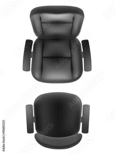 Office Chair And Boss Armchair Top View Vector Realistic Isolated Furniture For