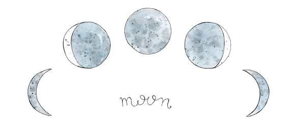 Watercolor hand drawn art sketch of Moon phases Lettering Moon