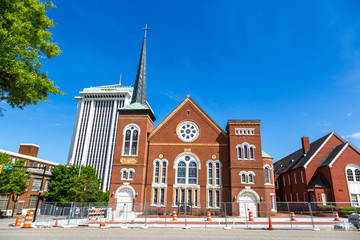 Montgomery, Alabama - April 25th 2014 - Historical church in a blue sky day in Montgomery in Alabama