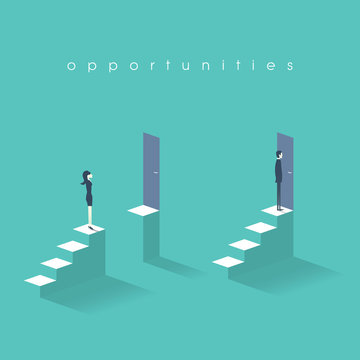 Equal opportunities business concept with businesswoman and businessman standing in front of doors on top stairs.