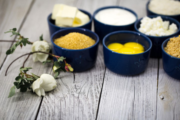 ingredients for cheesecake , in a bowl