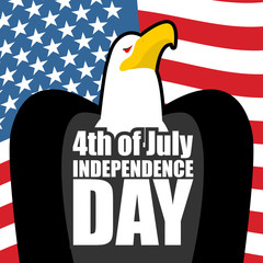 Independence Day in America. Eagle and USA flag. State patriotic